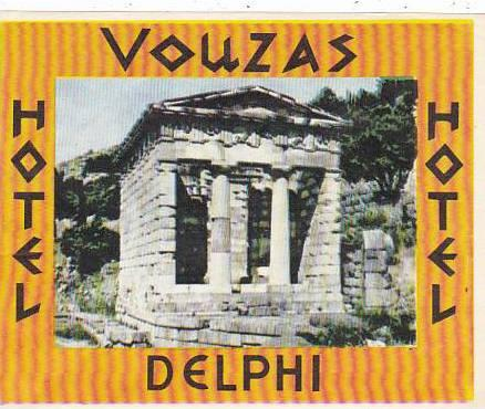 GREECE DELPHI HOTEL VOUZAS VINTAGE LUGGAGE LABEL