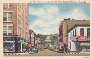 Kentucky Frankfort St CLair Street Showing Old State Capitol Coca Cola Sign C...