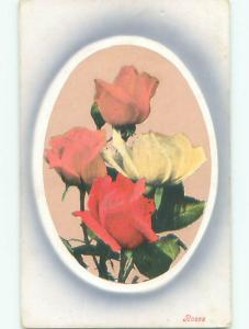Pre-Linen BEAUTIFUL RED AND PINK AND YELLOW ROSE FLOWERS k4467