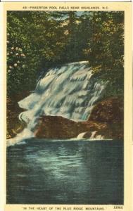 Pinkerton Pool Falls near Highlands, NC, unused linen Pos...