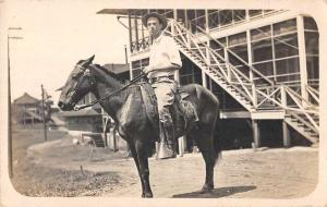 Panama Canal Zone Man on Horse Real Photo Vintage Postcard JE229402
