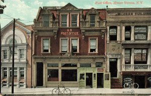 Mount Vernon NY Post Office Real Estate & Law Offices Bicycles Postcard