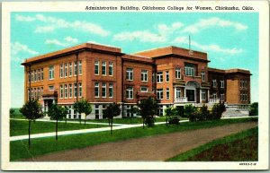 Chickasha, OK Postcard OKLAHOMA COLLEGE FOR WOMEN Admin Building Linen c1940s