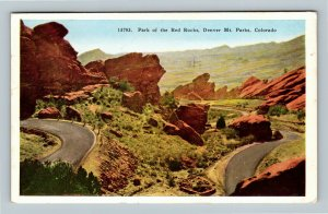 Denver Mt Parks CO, Park Of The Red Rocks, Vintage Colorado c1938 Postcard