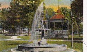 Wisconsin Berlin Fountain In City Park 1910