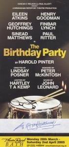 Geoffrey Hutchings of Benidorm in The Birthday Party Hand Signed Theatre Flyer