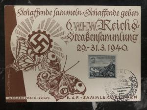 1940 Kiel Germany Postcard cover WHW strassensammlung spring festival