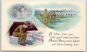 1910s WWI Military Postcard A Letter From You… Illustrated PC Series 1362