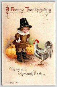 Ellen H Clapsaddle Thanksgiving~Pilgrim Boy & Plymouth Rock~Chicken~Pumpkins