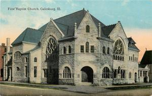 Galesburg Illinois~First Baptist Church~Big Round Stained Glass Windows~1910