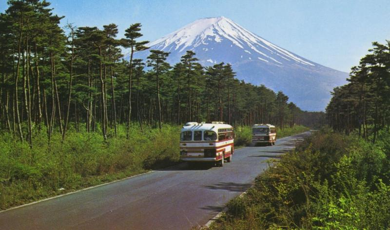Fuji Subaru Line Japan Mount Fuji Bus Tourism Postcard D11