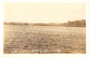 Broken Bow Oklahoma City Lake Real Photo Antique Postcard K78144