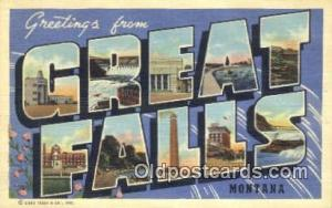 Great Falls, Montana, USA Large Letter Town Postcard Post Card Old Vintage An...