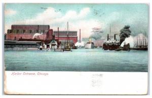 1910 Harbor Entrance, Chicago, IL Postcard
