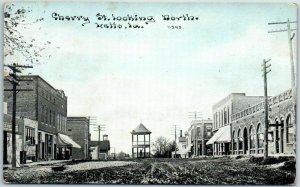 LETTS, Iowa Postcard Cherry Street Looking North Band Stand CU Williams 1910s