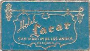 ARGENTINA NEOQUEN HOTEL LACAR VINTAGE LUGGAGE LABEL