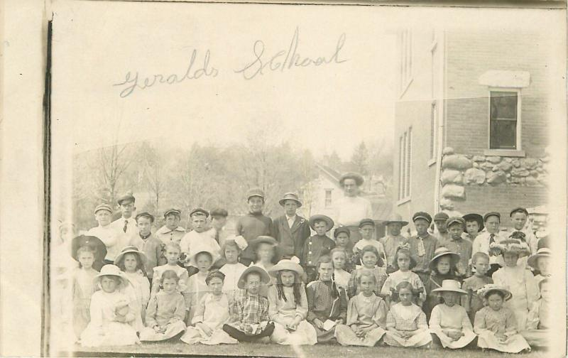 Geralds School Picture~Real Photo Postcard~Some Girls Have Big Hats c1913