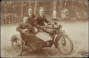 Motorcycle with Sidecar, Young Boys in Suit 1910s RPPC