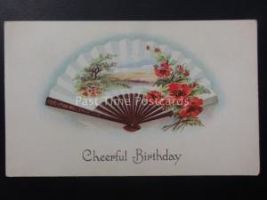 Poppies CHEERFUL BIRTHDAY Japanese Fan c1906 Old American Postcard
