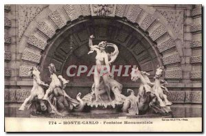 Old Postcard Monte Carlo Monumental Fountain