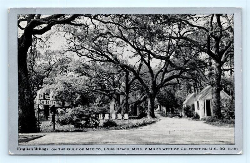 Postcard MS Long Beach English Village Cottages On Gulf Mexico c1930s H13