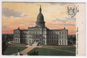 State Capitol & Crest Lansing Michigan 1908 postcard