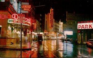 Massachusetts Boston Washington Street Looking North Theatre District At Night
