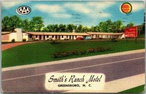 Greensboro, North Carolina Postcard SMITH'S RANCH MOTEL Route 220 Roadside Linen