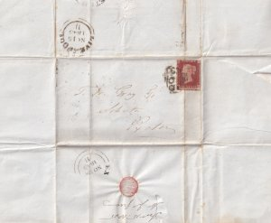 1845 Debt Victorian Legal Letter From Liverpool Penny Red Postmark