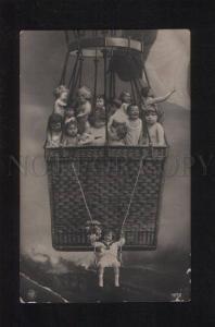 052624 MULTIPLE BABIES in BALLOON vintage PHOTO PC