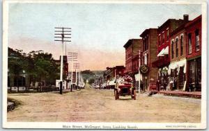 McGregor, Iowa Postcard MAIN STREET Downtown Scene Stores Car c1910s UNUSED