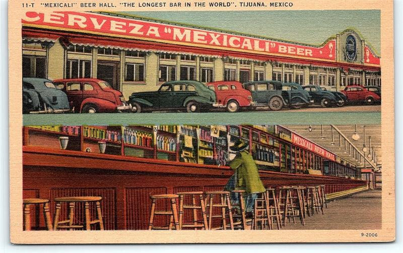 Postcard Mexico Tijuana Mexicali Beer Hall Worlds Longest Bar Linen Dualview R52
