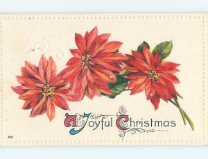 Divided-Back christmas THREE POINSETTIA FLOWERS o3895