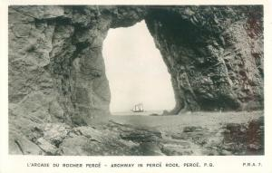 Quebec, Canada Archway in Perce Rock, Sailboat, Real Photo Postcard