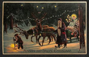 Christmas Elve Suited Santa Claus H-T-L Hold to Light Sled Malick Postcard