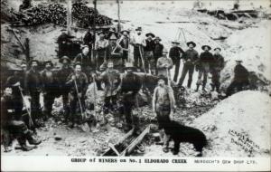 Alaska - Gold Miners Eldorado Creek REPRINT Real Photo Postcard c1950s-60s