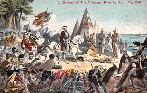 Colonial Post Card Old Vintage Antique Postcard Discovery of Mississippi Rive...