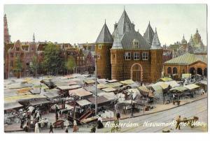 Netherlands Holland Amsterdam Nieuwmarkt met Waag Postcard