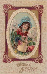 Wishes Sincere, 00-10s; Girl wearing bonnet, Flowers and water pail