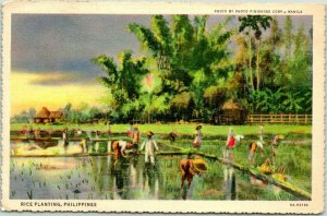 Postally-Used PHILIPPINES Postcard Rice Planting Paddy Scene Linen 1940 Cancel