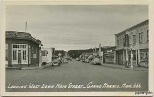 Grand Marais MN Street Vue Cars Beer Sign RPPC Postcard