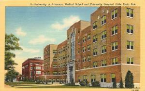 Linen Postcard University of Arkansas Medical School & Hospital, Little Rock AR