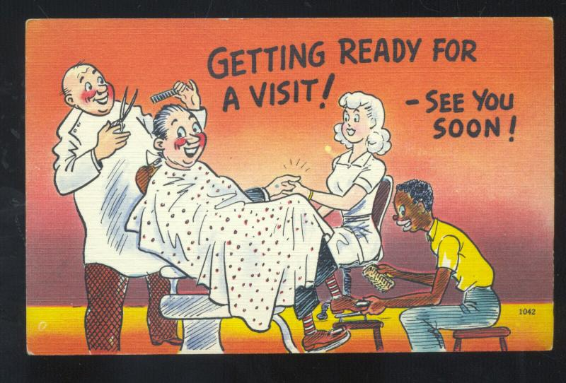 GETTING READY FOR A VISIT BARBERSHOP BLACK AMERICANA BLACK COMIC POSTCARD