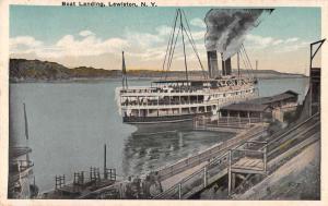 Lewiston New York birds eye view boat landing antique pc Y12388