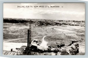 Scenic View Of Drilling For Oil, Miles City Montana RPPC Postcard
