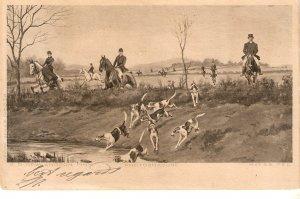 G.D. Rowlandson. Hunting Scene. Horses Nice vintage  postcard