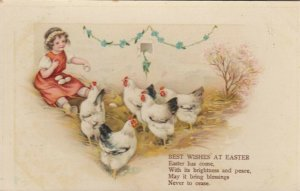 EASTER ; 1900-10s; Girl collecting eggs from chickens, Poem