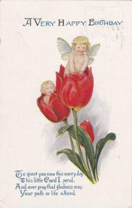 A Very Happy Birthday, Cherubs poking out of flowers, Poem, PU-1923