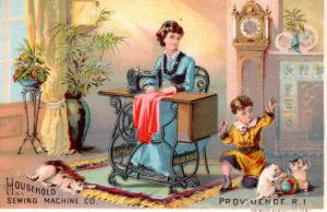 VICTORIAN TRADE CARD, HOUSEHOLD SEWING MACHINE CO.