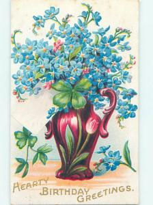 Pre-Linen art nouveau PRETTY FORGET-ME-NOT FLOWERS IN VASE WITH SHAMROCK HJ3711